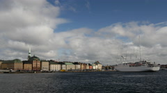 Cruise ship Wind Surf arriving in Gamla Stan Stockholm Sweden Stock Footage