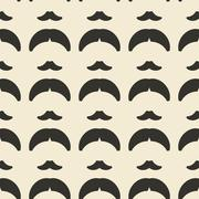 Stock Illustration of Mustache and hairstyle geometric ornament seamless pattern.