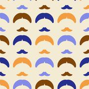 Mustache and hairstyle geometric ornament seamless pattern.   - stock illustration
