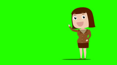 Business girl to presentation on green back ground - stock footage