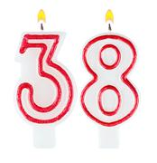 Birthday candles number thirty eight Stock Photos
