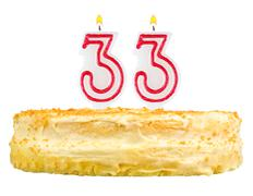 Stock Photo of birthday cake with candles number thirty three