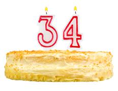 Birthday cake with candles number thirty four Stock Photos