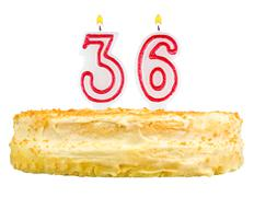 birthday cake with candles number thirty six - stock photo