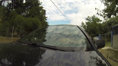 Driving car on the country road with engine sound,camera mounted on Hood POV Stock Footage