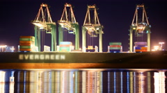 Time Lapse of Cranes Loading on Container Ship at Port of LA Stock Footage