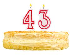 birthday cake with candles number forty three - stock photo