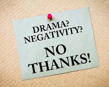 Drama? Negativity? No Thanks! Message written on paper note - stock photo