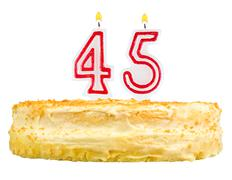 birthday cake with candles number forty five - stock photo