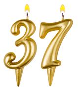 Birthday candles number thirty seven isolated - stock photo