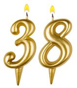 Birthday candles number thirty eight isolated Stock Photos