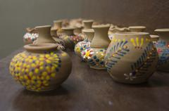 Clay pottery small tiny art colorful color concept Stock Photos