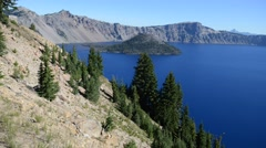 Deep blue water of Crater Lake National Park, Oregon, USA Stock Footage