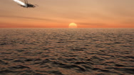 Stock Video Footage of Air Force Fighter Jets Flying Across An Ocean Sunset With Vapor Trails