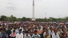 Communist gathering of people at Sahid Minar,Kolkata,India Stock Footage