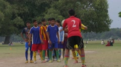 Boys practise soccer on the Maidan,Kolkata,India Stock Footage