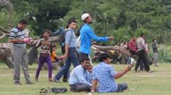 Men kiting on the Maidan,Kolkata,India - stock footage