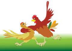 Dance performed by the rooster and hen - stock illustration