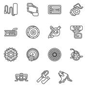 Simple line vector icons for e-bike parts - stock illustration