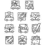 Simple line vector icons for car insurance - stock illustration