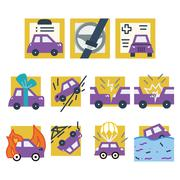 Simple colored vector icons for car insurance Stock Illustration