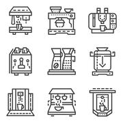 Simple line vector icons for coffee machines - stock illustration