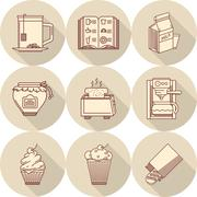 Stock Illustration of Breakfast beige round vector icons