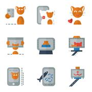 Stock Illustration of Flat color simple vector icons for selfie