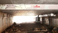 Moving Through Dark Tunnel Stock Footage