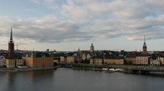 View from Södermalm from Ridderholmen and Gamla Stan in Stockholm Sweden Stock Footage