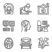 MRI black simple line icons set Stock Illustration
