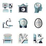 MRI blue and black flat icons - stock illustration