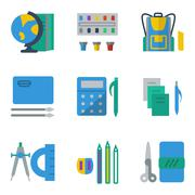 School accessories colored simple icons Stock Illustration