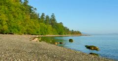 4K Pebble Stone Beach, Pacific Northwest Shoreline, West Coast Stock Footage