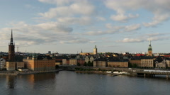 View from Södermalm of Ridderholmen and Gamla Stan in Stockholm Sweden Stock Footage