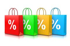 Colorful Shopping Bags Series with Percentage Sign Isolated on White Backgrou Stock Illustration