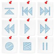 paper note and drawing media symbol - stock illustration