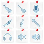 paper note and drawing music symbol - stock illustration