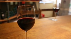 Circular tracking shot of glass wine Stock Footage