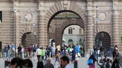 Crowd at Riksplan square in Stockholm Sweden Stock Footage
