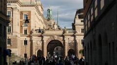 Crowd at Riksplan square and Riksbron bridge in Stockholm Sweden Stock Footage