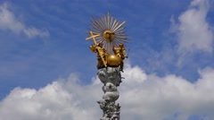 4K footage of the Holy Trinity Column on the Main Square in Linz, Austria - stock footage