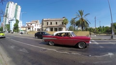 Many old cars on Vedado district in Havana, Cuba Stock Footage