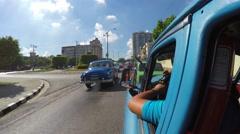 Driving vintage car in Vedado, Havana, Cuba Stock Footage
