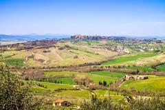 tuscan landscape, view of the green Val D'Orcia - stock photo