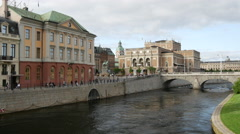 Time lapse from the view of Bridge Riksbron in Stockholm Sweden Stock Footage