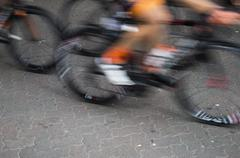 Bike racer going fast - stock photo