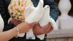 Groom And Bride Holding Pigeons Stock Footage