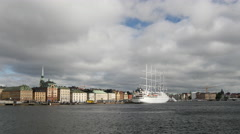 Cruise ship Wind Surf at Gamla Stan Stockholm Sweden Stock Footage