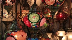 Decorative chandeliers in Grand bazaar. Istanbul, Turkey - stock footage
